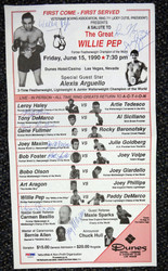Boxing Greats Autographed 9x16 Program With 9 Signatures Including Willie Pep, Gene Fullmer & Joey Maxim PSA/DNA #S50834