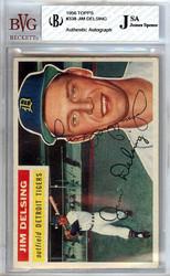 Jim Delsing Autographed 1956 Topps Card #338 Detroit Tigers JSA SKU #103321