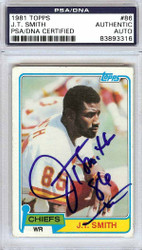 J.T. Smith Autographed 1981 Topps Rookie Card #86 Kansas City Chiefs PSA/DNA #83893316