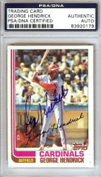George Hendrick Autographed 1982 Topps Card #420 St. Louis Cardinals PSA/DNA #83920179