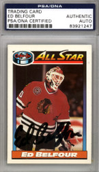 Ed Belfour Autographed 1991-92 O-Pee-Chee Card #263 Chicago Blackhawks PSA/DNA #83921247