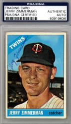 Jerry Zimmerman Autographed 1966 Topps Card #73 Minnesota Twins PSA/DNA #83919636