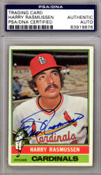 "Harry ""Eric"" Rasmussen Autographed 1976 Topps Card #182 St. Louis Cardinals PSA/DNA #83919876"