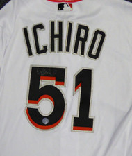 Miami Marlins Ichiro Suzuki Autographed White Majestic Authentic Flex Base Jersey Size 40 IS Holo #110722