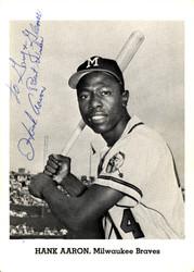 "Hank Aaron Autographed 5x7 Photo Milwaukee Braves ""To Gary & Glen Best Wishes"" Vintage PSA/DNA #AB86783"