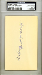 "Howard W. ""Howie"" Gregory Autographed 3x5 Index Card St. Louis Browns PSA/DNA #83936007"