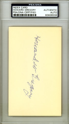 "Howard W. ""Howie"" Gregory Autographed 3x5 Index Card St. Louis Browns PSA/DNA #83936008"