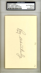 Roy Weatherly Autographed 3x5 Index Card Yankees Indians PSA/DNA #83936332