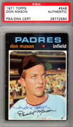 Don Mason Autographed 1971 Topps Card #548 San Diego Padres PSA/DNA #26772584