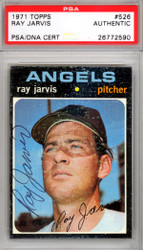 Ray Jarvis Autographed 1971 Topps Card #526 California Angels PSA/DNA #26772590