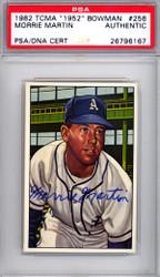 Morrie Martin Autographed 1987 1952 Bowman Reprint Card #256 Philadelphia A's PSA/DNA #26796167