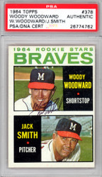 Woody Woodward Autographed 1964 Topps Rookie Card #378 Milwaukee Braves PSA/DNA #26774762