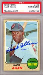 Hank Allen Autographed 1968 Topps Card #426 Washington Senators PSA/DNA #26774736