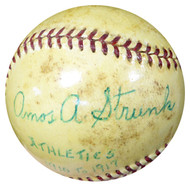 "Amos Strunk Autographed Official AL Harridge Baseball Philadelphia A's ""Athletics 1910-1917"" Vintage Beckett BAS #B26660"