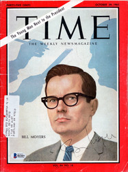 Bill Moyers Autographed Time Magazine Beckett BAS #B61057