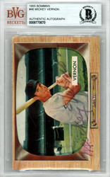 Mickey Vernon Autographed 1955 Bowman Card #46 Washington Senators Beckett BAS #9770670