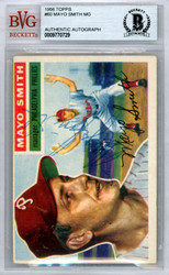 Mayo Smith Autographed 1956 Topps Card #60 Philadelphia Phillies Beckett BAS #9770729