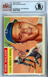Rube Walker Autographed 1956 Topps Card #333 Brooklyn Dodgers Beckett BAS #9770900