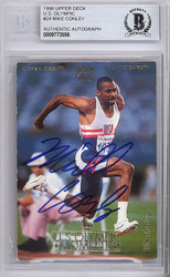 Mike Conley Sr. Autographed 1996 Upper Deck Olympics Card #24 USA Beckett BAS #9773556
