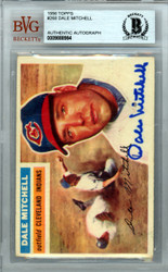 Dale Mitchell Autographed 1956 Topps Card #268 Cleveland Indians Beckett BAS #9888984