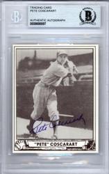 Pete Coscarart Autographed 1986 1940 Play Ball Reprint Card #63 Brooklyn Dodgers Beckett BAS #9888097