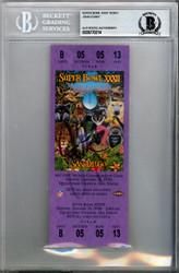 John Elway Autographed SB XXXII Purple Ticket Denver Broncos Beckett BAS #9770214