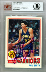 Phil Smith Autographed 1977 Topps Card #12 Golden State Warriors Beckett BAS #10008915