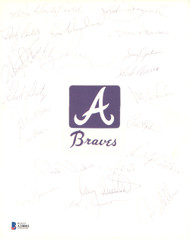 1973 Atlanta Braves Autographed 8x10 Cut Signature With 21 Total Signatures Including Hank Aaron Beckett BAS #A10003