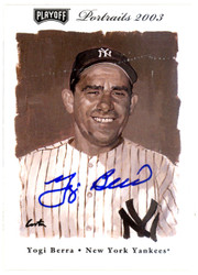 Yogi Berra Autographed 2003 Playoff Portraits Card #75 New York Yankees Steiner SKU #126181