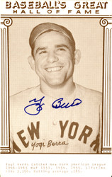 Yogi Berra Autographed 3.5x5.5 Baseball's Great Hall Of Fame Postcard New York Yankees Steiner SKU #126225