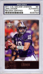 Jake Locker Autographed 2011 Upper Deck Rookie Card #81 Washington Huskies PSA/DNA Stock #56504