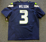 Seattle Seahawks Russell Wilson Autographed Blue Nike Elite Jersey Size 48 RW Holo Stock #60976