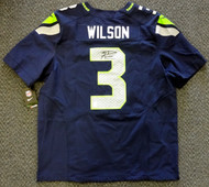 Seattle Seahawks Russell Wilson Autographed Blue Nike Elite Jersey Size 52 RW Holo Stock #60977