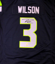 Seattle Seahawks Russell Wilson Autographed Blue Nike Twill Jersey Size XXL RW Holo Stock #71432