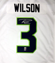 Seattle Seahawks Russell Wilson Autographed White Nike Twill Jersey Size XXL RW Holo Stock #71435