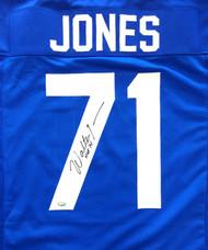 """Seattle Seahawks Walter Jones Autographed Blue Jersey """"HOF '14"""" MCS Holo Stock #72404"""