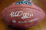 "Richard Sherman Autographed Super Bowl Leather Football Seattle Seahawks ""SB XLVIII Champs!"" RS Holo Stock #72433"