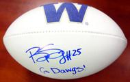 "Bishop Sankey Autographed White Logo Football Washington Huskies ""Go Dawgs!"" MCS Holo Stock #73082"