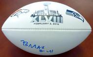 Byron Maxwell Autographed White Super Bowl Logo Football Seattle Seahawks MCS Holo Stock #76413