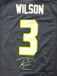 Seattle Seahawks Russell Wilson Autographed Blue Nike Jersey Size L RW Holo Stock #80817