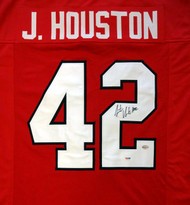 Georgia Bulldogs Justin Houston Autographed Red Jersey PSA/DNA Stock #81760