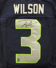 Seattle Seahawks Russell Wilson Autographed Blue Nike Elite Jersey Size 44 RW Holo Stock #88310