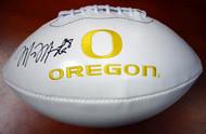 Marcus Mariota Autographed White Logo Football Oregon Ducks MM Holo Stock #89835