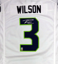 Seattle Seahawks Russell Wilson Autographed White Nike Twill Jersey Size XL RW Holo Stock #90928