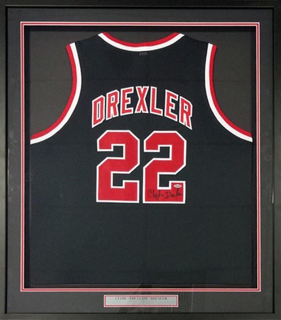 new arrival ac45f 44f1a Portland Trailblazers Clyde Drexler Autographed Framed Black Jersey Steiner  Stock #91039