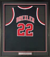 Portland Trailblazers Clyde Drexler Autographed Framed Black Jersey Steiner Stock #91039