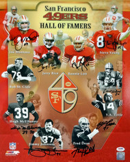 Sale!! San Francisco 49ers Hall of Famers Autographed 16x20 Photo With 9 Signatures Including Joe Montana, Jerry Rice & Steve Young PSA/DNA Stock #93084