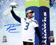 Russell Wilson Autographed 8x10 Photo Seattle Seahawks Super Bowl Trophy RW Holo Stock #94278