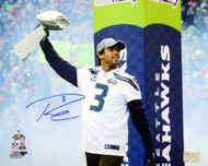 Russell Wilson Autographed 16x20 Photo Seattle Seahawks Super Bowl Trophy RW Holo Stock #95144
