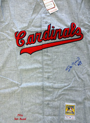 """St. Louis Cardinals Stan Musial Autographed Gray Mitchell & Ness Jersey """"HOF 69"""" Size 44 PSA/DNA Stock #99167"""